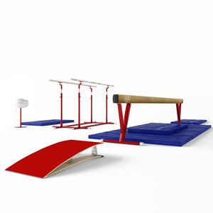 3D gymnastic equipment parallel bars