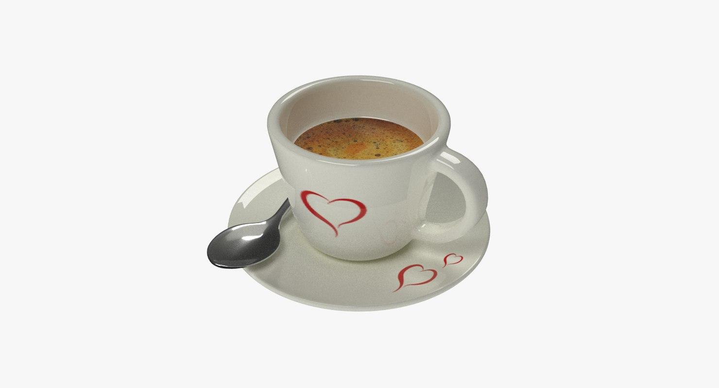 cup spoon saucer 3D model