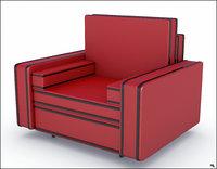 armchair chair red 3D