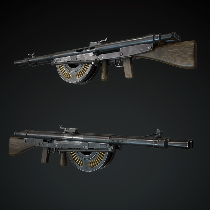 3D chauchat machine gun model