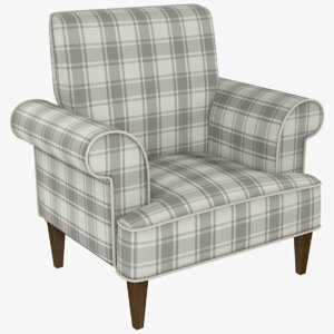checkered fabric chair 3D model
