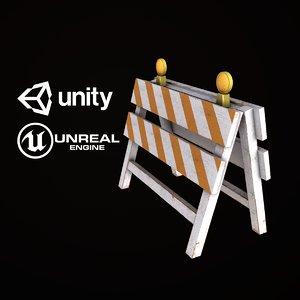 pbr ready construction barrier 3D model