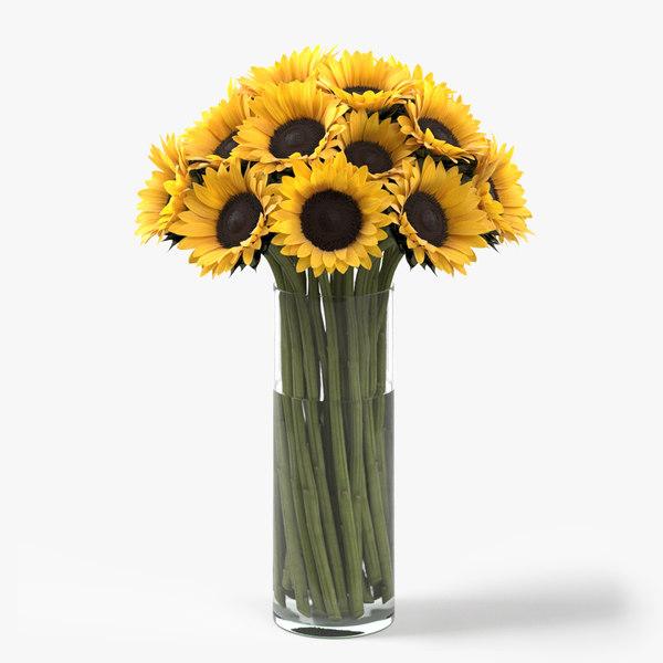 3D photorealistic sunflowers bouquet flowers