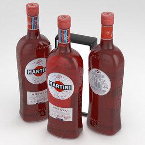 martini bottle rosato 3D model