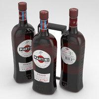 3D martini bottle rosso model