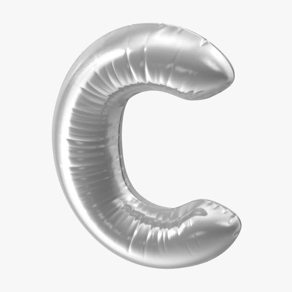 3D foil balloon letter c model