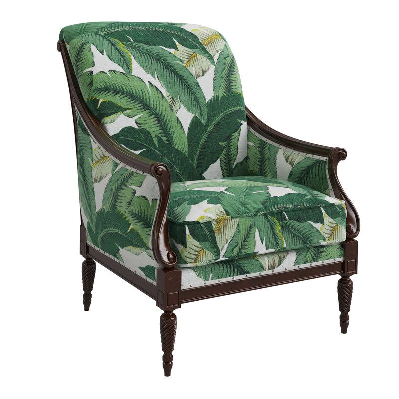 harwood accent chair palm leaf 3D