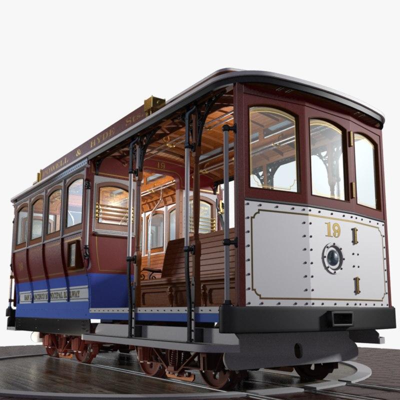3D famous san francisco cable car model