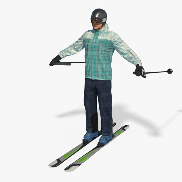 real-time ski man pbr 3D model
