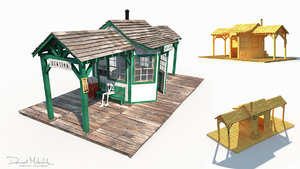 old wild west train station 3D model