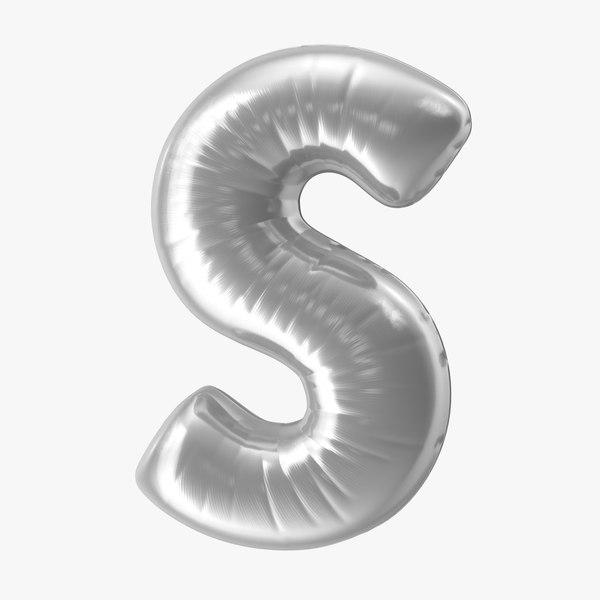 3D model foil balloon letter s