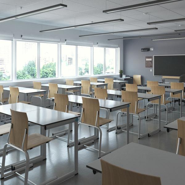 3D classroom interior model