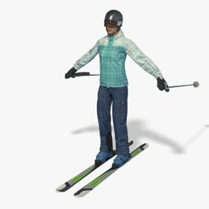 3D real-time ski woman pbr
