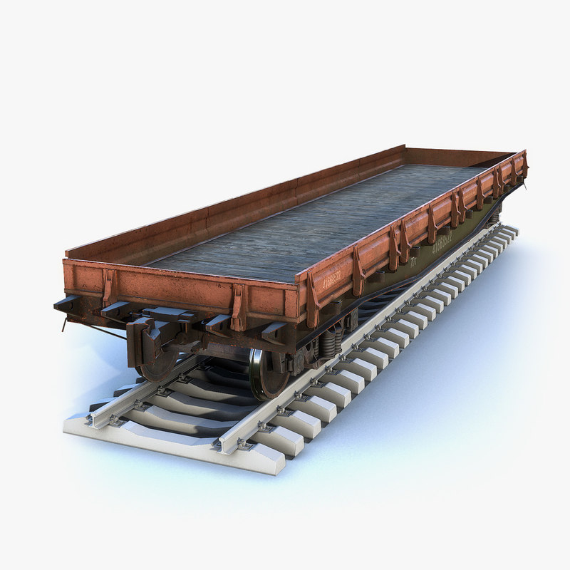 3D low-poly cargo flat wagon model