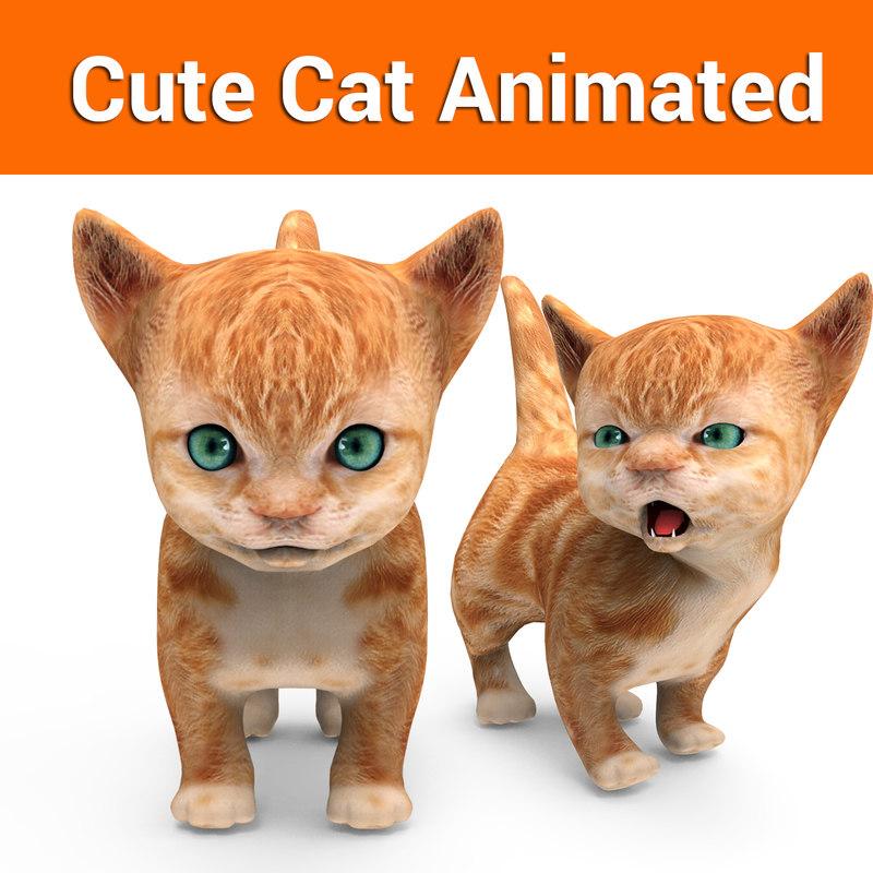 cute cat animation 3D model