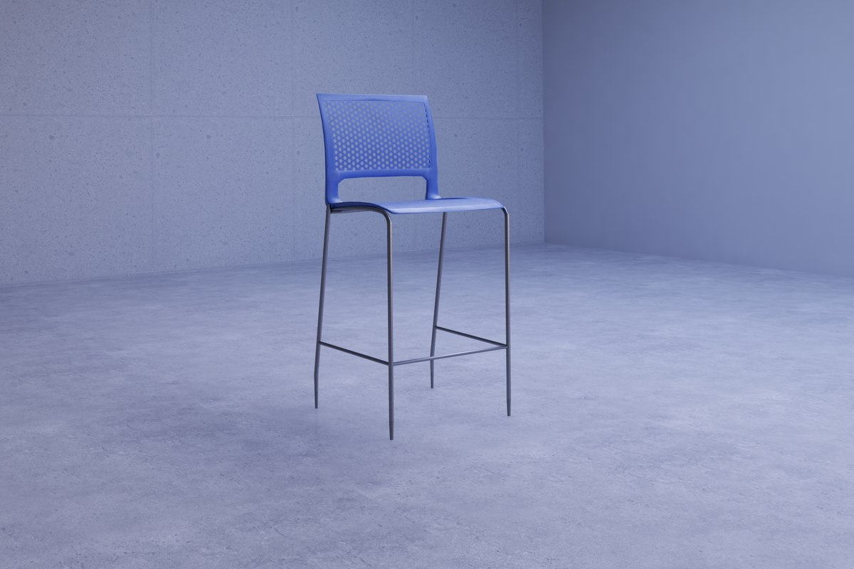3D sleek contemporary blue chair