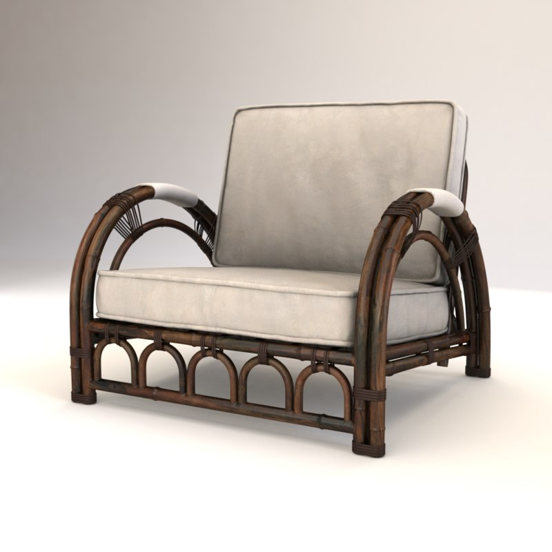 vintage bamboo chair 3D model