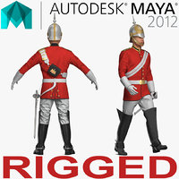Queens Royal Soldier Lifeguards Cavalry Rigged for Maya