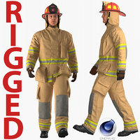 US Firefighter with Fully Protective Suit Rigged for Cinema 4D 3D Model