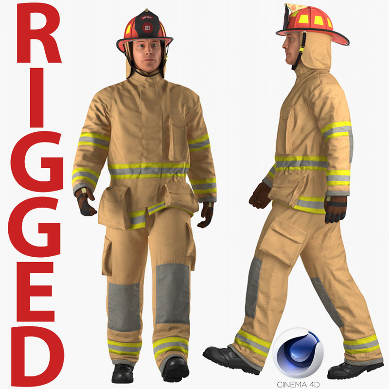 firefighter fully protective suit 3D