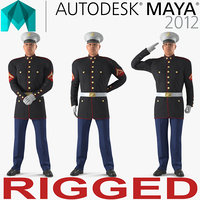 US Marine Corps Soldier in Parade Uniform Rigged for Maya