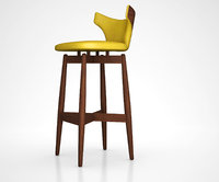 walnut swivel bar stool 3D