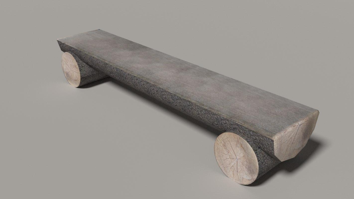 3D log bench model