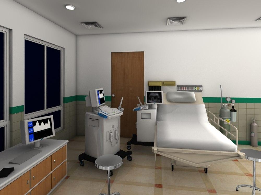 3D model hospital room