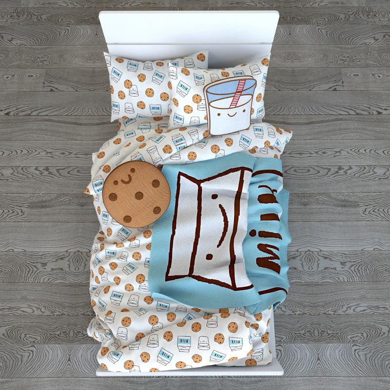 3D milk cookies bedding set