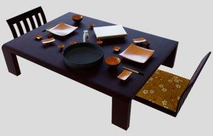3D model earthenware japanese sushi set