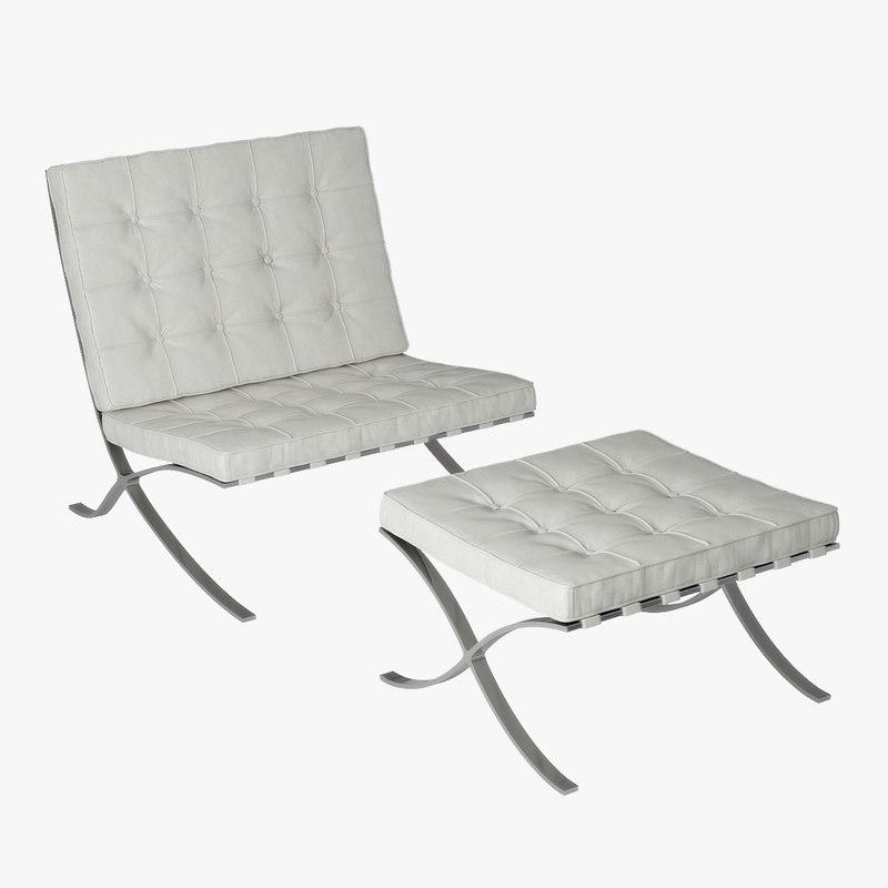 barcelona chair puff 3D