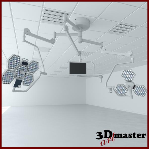 medical surgical light set 3D model