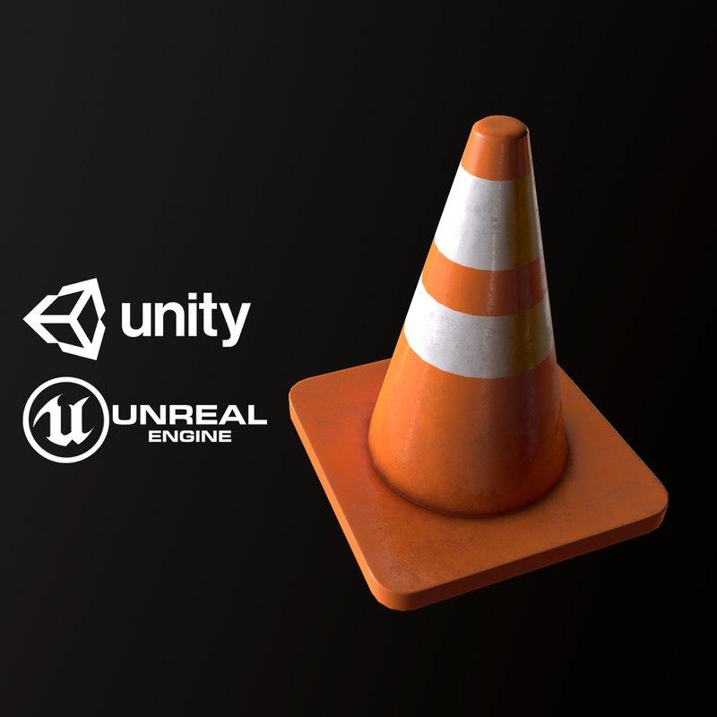 3D pbr ready traffic cone