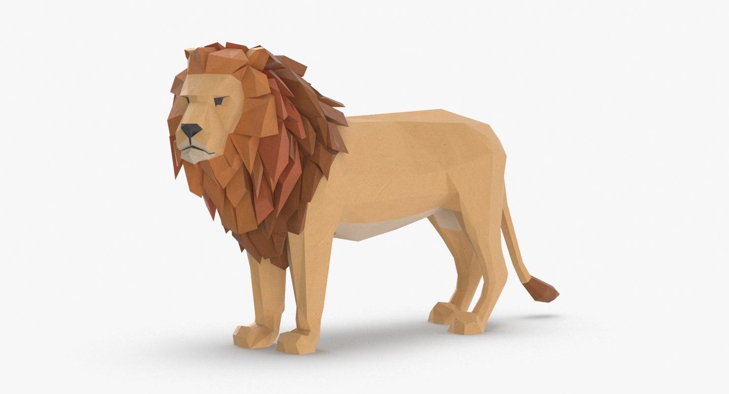 lion---standing 3D model