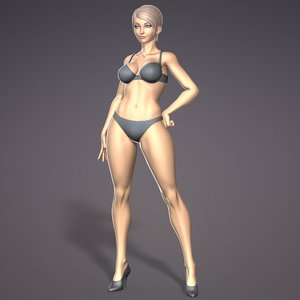 female stylistic base body character 3D model