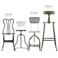 3D vintage industrial stools chair