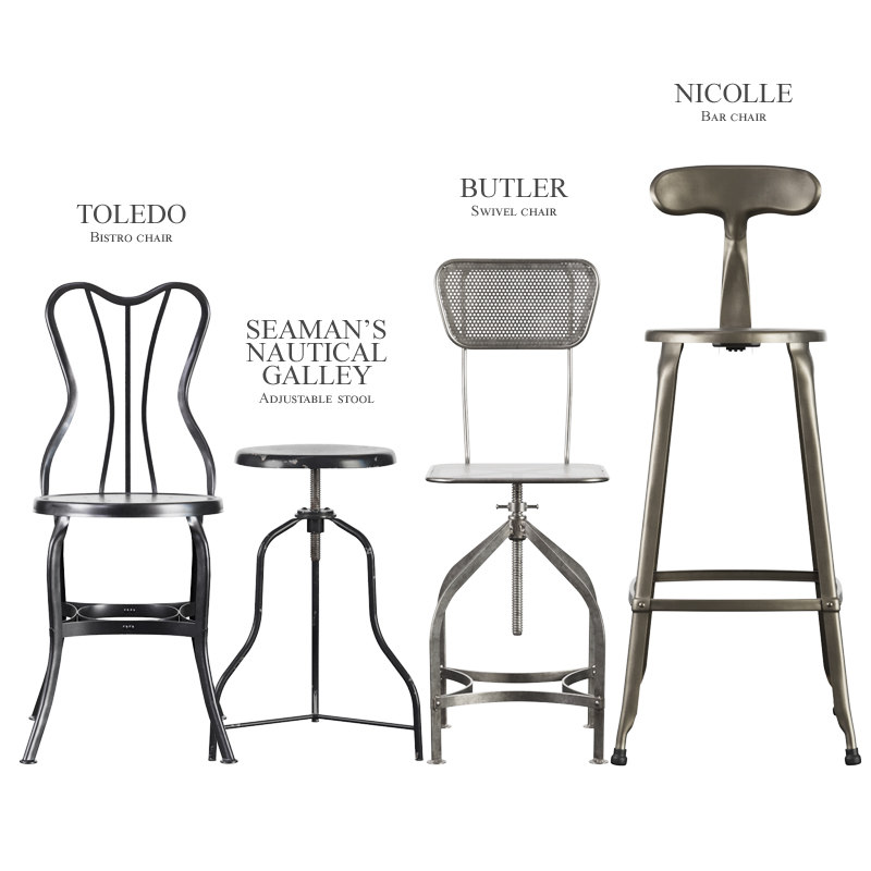 3D vintage industrial stools chair
