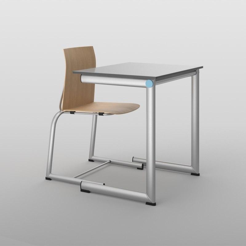 3D realistic school desk chair model