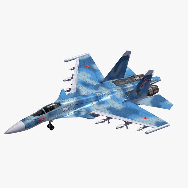 su-33 flanker d fighter aircraft 3D model