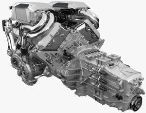 3D bugatti chiron engine model