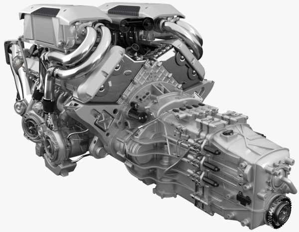 3D bugatti chiron engine model