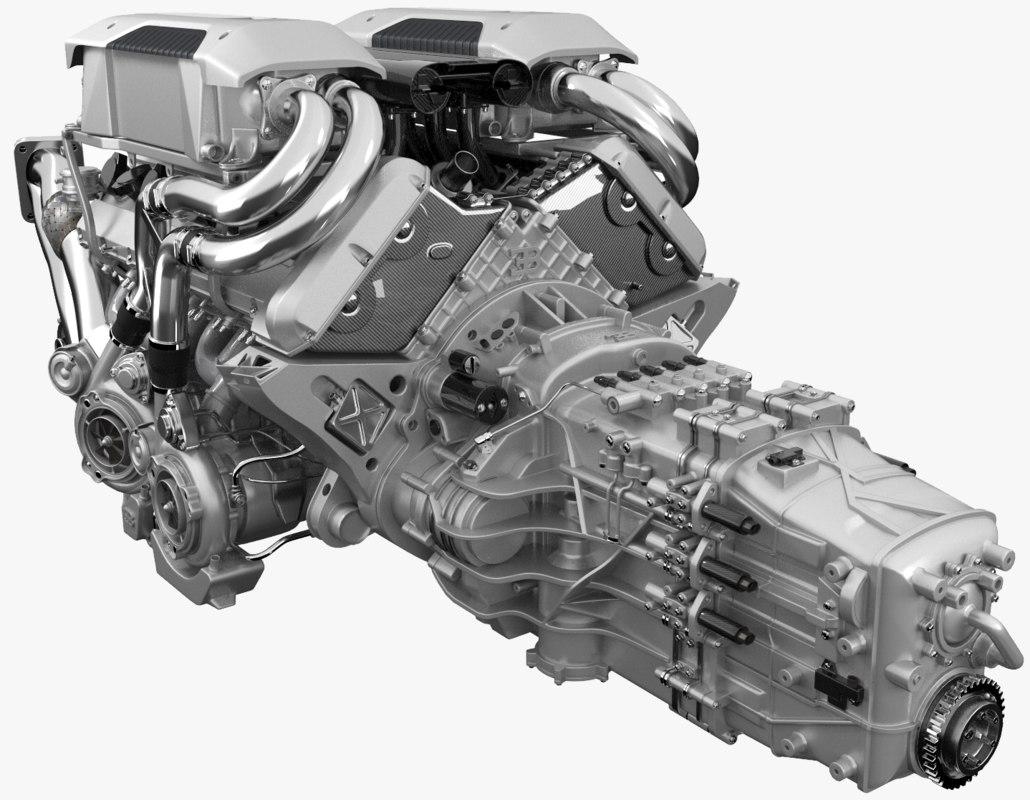 3d bugatti chiron engine model turbosquid 1217464
