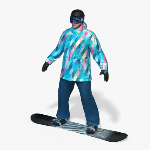 real-time snowboard man pbr model