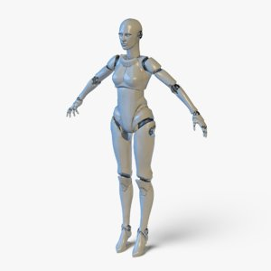 3D real-time robotic girl rig model