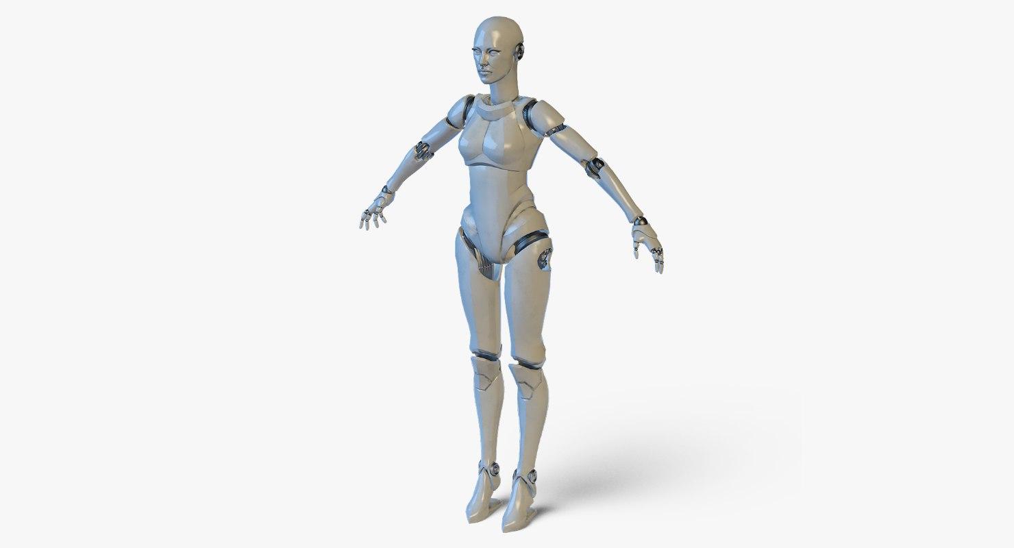 3D real-time robotic girl rig model