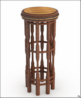 stool wood rustic 3D model