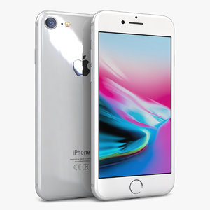 apple iphone 8 silver 3D model