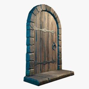 3D medieval castle door