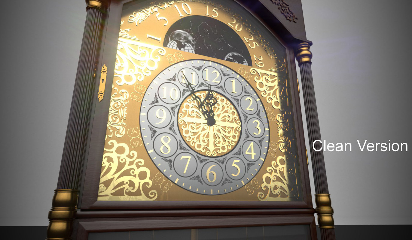 rigged grandfather clock model