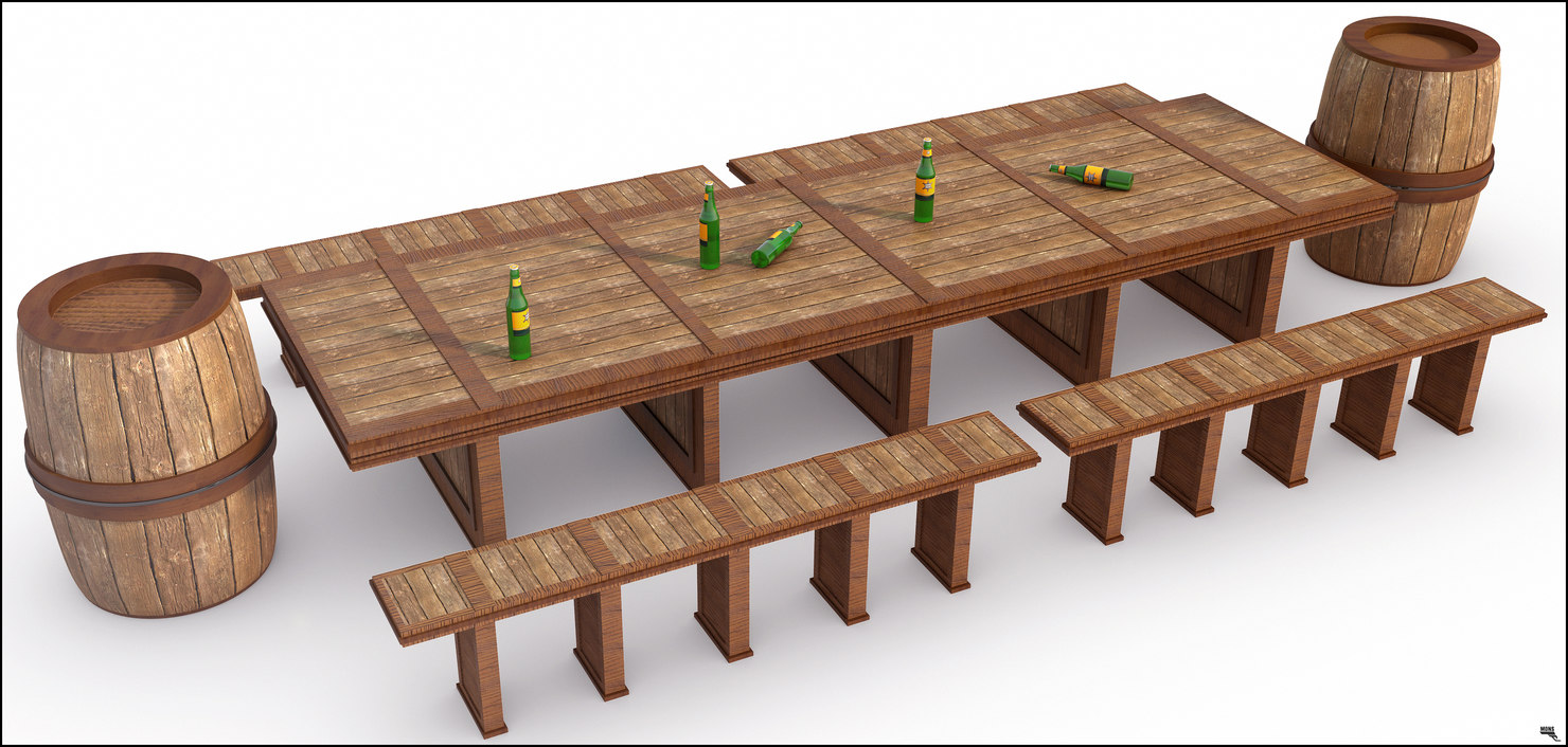 3D model wood table rustic